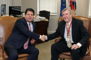 Gibraltar Chief Minister Fabian Picardo of Gibraltar and Joe Farrell, Jr CEO of Resolve Marine Group